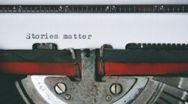 Typewriter text with the words stories matter